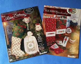 Silk Ribbon Embroidery Christmas Holiday Projects - two booklets with iron on transfers by Bucilla - quick and easy