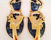 Vintage Edgar Berebi Grand Post Earrings Gold & Blue Enamel Pierced 1980s Costume