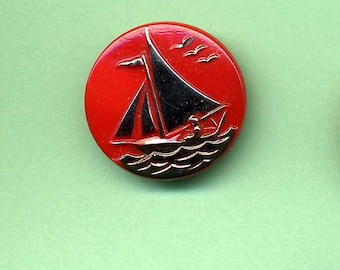 Pictorial  Glass Button  With Sail Boat  - 1960's