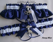 Police Wedding Garters Handmade Navy Blue and White Garters