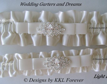 Rhinestone Marquee Wedding Garters Handmade Light Ivory Garters