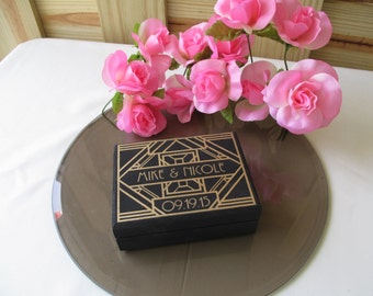 Wedding Ring Box Art Deco Gatsby Style  - Unique Ring Bearer Pillow Alternative - Item 1668
