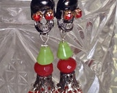 Lilygrace Red, Black and Green Calavera Tassel Beaded Earrings