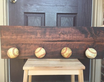 Baseball Hat Hanger Dugout Sign Rustic Family Sports Decor
