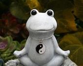 Meditating Frog Buddha - Yin Yang Yoga Frog - Toad Buddha Statue - Concrete Art
