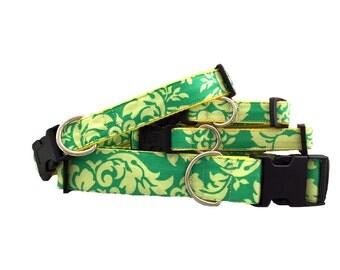 Dog Collar - Green Leaf Small & Large Sizes All Breeds - 'Lemon Kiwi Damask'