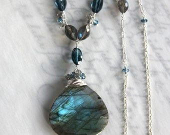 Labradorite Necklace with London Blue Topaz in Solid Sterling Silver
