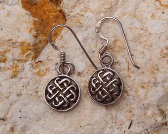Earrings, Vintage Sterling Silver Celtic Knot Earrings
