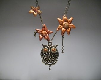 Owl Necklace - Flower Necklace - Fall Jewelry