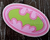 Batman Applique Logo Patch Pink and green