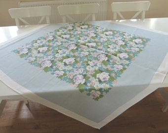 Vintage Tablecloth Summer Floral Roses in Pinks Lavenders and Blues Printed Irish Dunmoy - EnglishPreserves