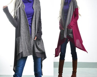 Wings - decontructed patchwork jacket / boho rib cardigan / asymmetrical wool jacket / freestyle knit wrap (Y1521)