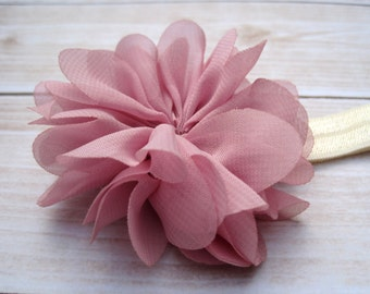 Baby Headband, Newborn Photo Prop, Chiffon Ballerina Flower, Baby Girl Headband, Infant Headband, Flower Headband, Toddler Headband, Mauve