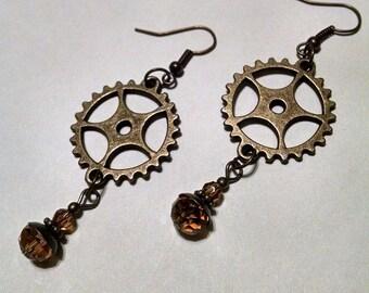 Gearrings  dangle steampunk earring