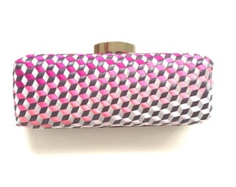 3D Handwoven Geometric Minaudiere Clamshell Box clutch in pink ombre ribbon lined in Dupioni silk