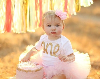 First Birthday Outfit Girl, Tutu Dress Outfit, Tulle Skirt, Baby Headband, Baby Romper, 1st Birthday Outfit Girl, Pink and Gold Cake Smash