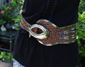 VINTAGE faux leather and metal belt - bohemian, steampunk, tribal. Hand made artistic design