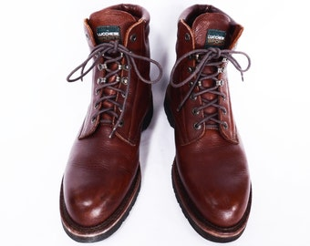 90's men's LUCCHESE work boots // vintage hiking boots // lumberjack ankle boots //  men's size 9 / 10 work boots