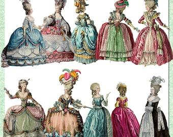 Series 2 Marie Antoinette Digital Set of 10 Paper Dolls, Clipart in .png format