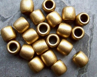 Gold Beads-Distressed-Barrel Beads-Big Hole Beads-Spacer Beads-Lucite Beads-Vintage Beads-20 Beads