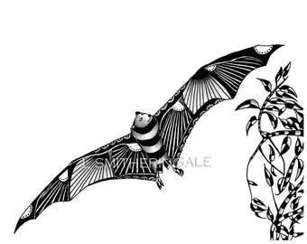 Zentangle-Inpired Bat Print - Unmatted