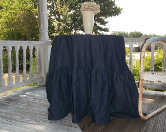 "Floor Length Ruffled Tablecloth Round Denim Tablecloth Chambray Custom Fabric Handmade Wedding Decor Table Settings French Prairie 90"""