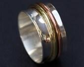 Sterling Silver Ring, Spinner Ring Spinning Ring, Silver Rings for Women, Silver Ring Men, Wide Band Ring, Sterling Spinner Ring Fidget Ring
