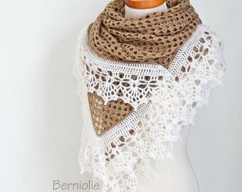 Crochet shawl, beige with creme trim, N349