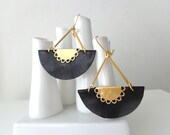 Black leather earrings fan crescent half circle