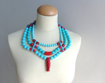 Turquoise red statement necklace tribal coral, multi strand necklace