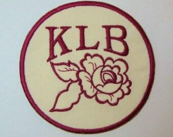 Rose Monogram Embroidered Applique DIY Patch-100399