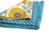 Head Kerchief/ Neck Wrap Scarf Sunflower Aqua Floral or Gingham  Choose Your Print from the Selection of 3