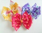 Pinwheel Hair Bow Your Choice - Floral or Polka Dots - No Slip Velvet Grip Hair Clip