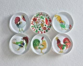 Roosters and Chickens Magnet Set - Glass Magnet Set With Vintage Roosters and Chickens, Chicken Fridge Magnet Set No. 26