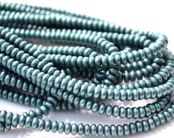 Metallic Green Suede 4mm Rondelle Beads  100