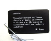 Personalized Wallet Insert - Wallet Card - Gift for Him & Her - Meaningful Anniversary Love Note, Deployment Gift - Free Gift Box (GM011)