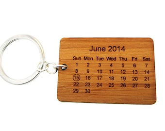Bamboo Calendar Key Chain - Special Date - Wedding & 5th Anniversary Gift (KC001)