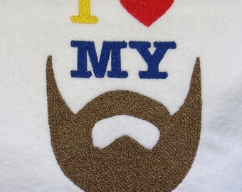 I Love My Beard Embroidery Design - 2 Sizes - Custom Sayings Welcome
