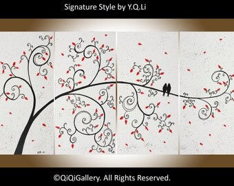 "Valentine's sale - Original art, acrylic painting canvas art Palette Knife love birds tree Wall Art ""Love Is Simple"" by QiQiGallery"