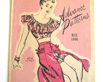 Vintage Pattern Catalog Booklet Advance Fashion News Booklet May 1946- ORIGINAL