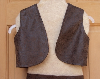 Ride em Cowboy or Cowgirl  tooled leather look vest and chaps,  Western wear  costume, creative playtime