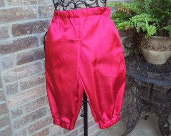 Childs red satin knickers,  size 4--Little devin, pirate, Scarlet Pimpernal, Halloween costume