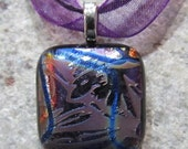 Fused Glass Pendant with Ribbon necklace: Elegant Etched Mini