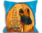 Afghan No. 1 - pillow home decor custom dog name option dog  breed art pillow