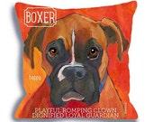 Boxer dog pillow - dog art pillow 18x18 color options custom dog portrait home decor original art by ursula dodge