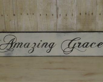AMAZING GRACE SIGN / grace sign / inspirational sign / Amazing / Grace / hand painted sign / religious sign / painted amazing grace / sign
