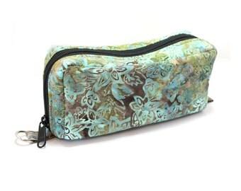 Essential Oil Case Holds 10 Bottles Essential Oil Bag Sage Green and Brown Leaves Batik