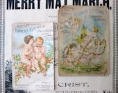 Vintage Shabby Cologne Trade Cards, Angels, Forest Flower Cologne and Hoyts German Cologne, for Valentine Cards