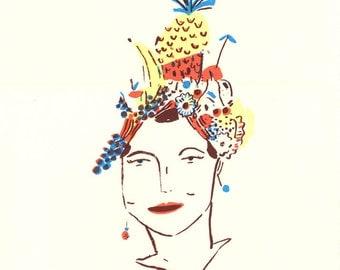 Fruit Hat, screen print on paper