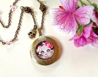 Camila Huesitos Bronze Locket Pendant Necklace - Original Necklace Handcrafted by Sandra Vargas